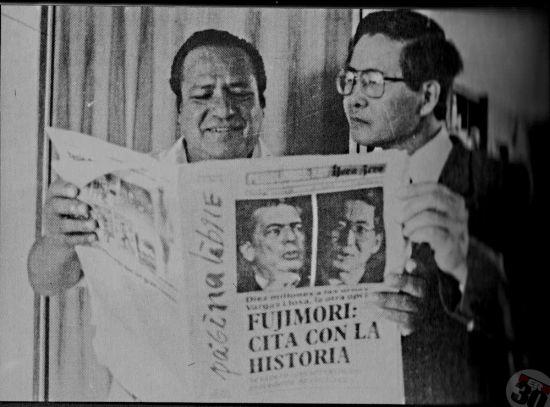 Alberto Fujimori y su entonces candidato a primer vicepresidente, Máximo San Román, a quien luego traicionaría.